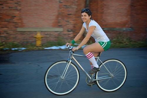 Bicycle girl photo