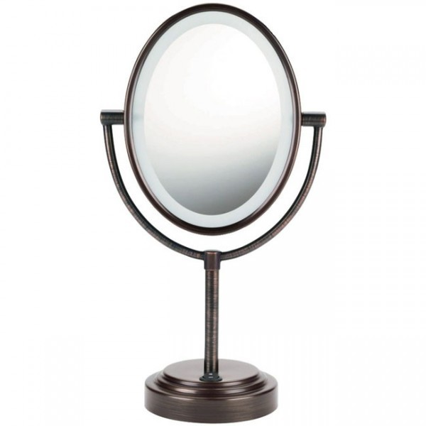 conair oval double-sided lighted mirror