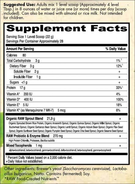 garden of life raw protein ingredients